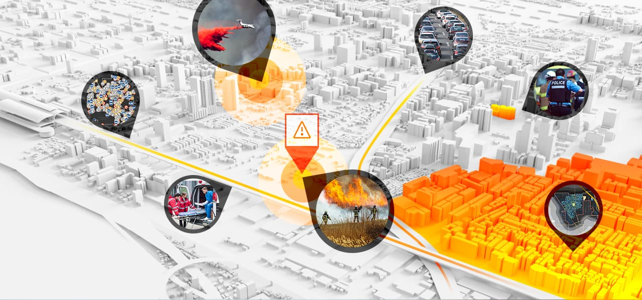 3D digital map of a city shows where fires and accidents are and where police are responding
