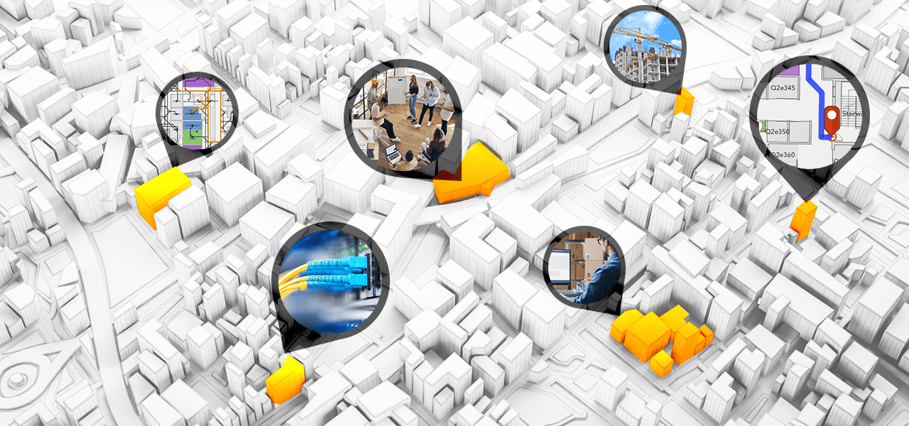 3D digital map highlights facility details such as a people in a meeting room, connected cables, in-progress construction site, and a map of the fastest indoor routes