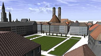 Illustrated image of courtyard in Munich using CityEngine