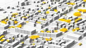 Black, yellow, white illustrated rendering of digital city