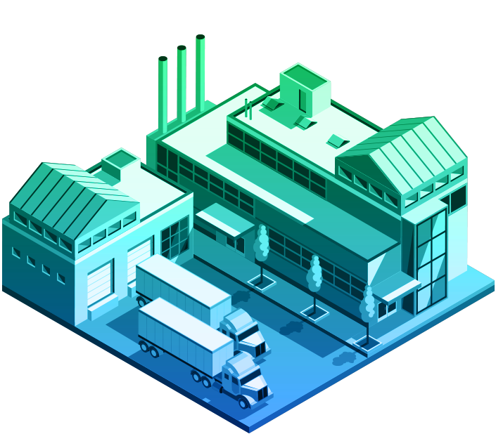 Illustration of a manufacturing plant