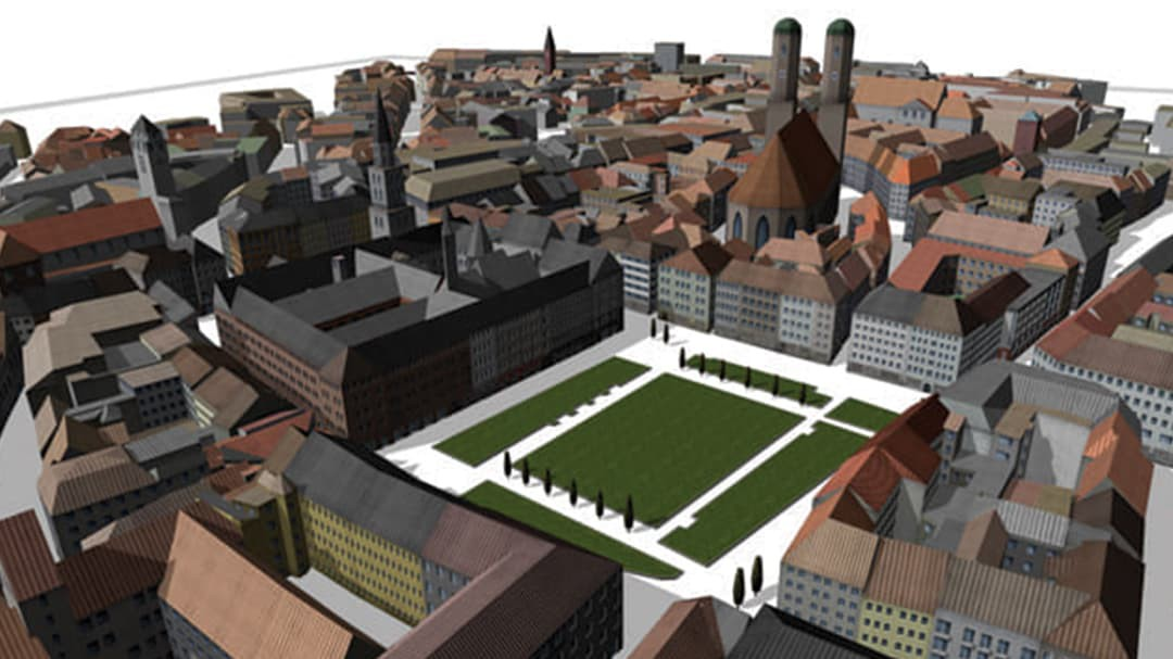 Aerial view of CityEngine rendering of building reconstruction in Munich