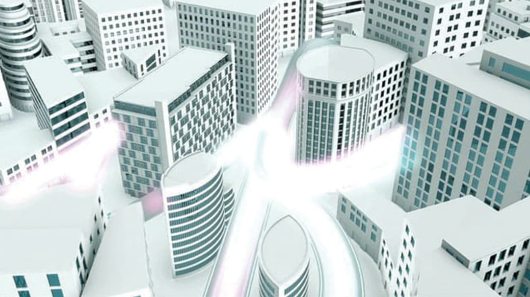 Illustration of modern city from CityEngine with light
