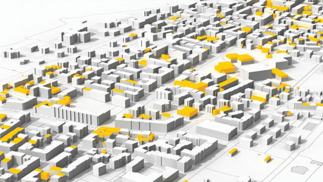 Black, white, and yellow aerial view of city using CityEngine