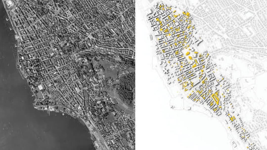 Side by side picture of black and white aerial view of city and CityEngine rendering